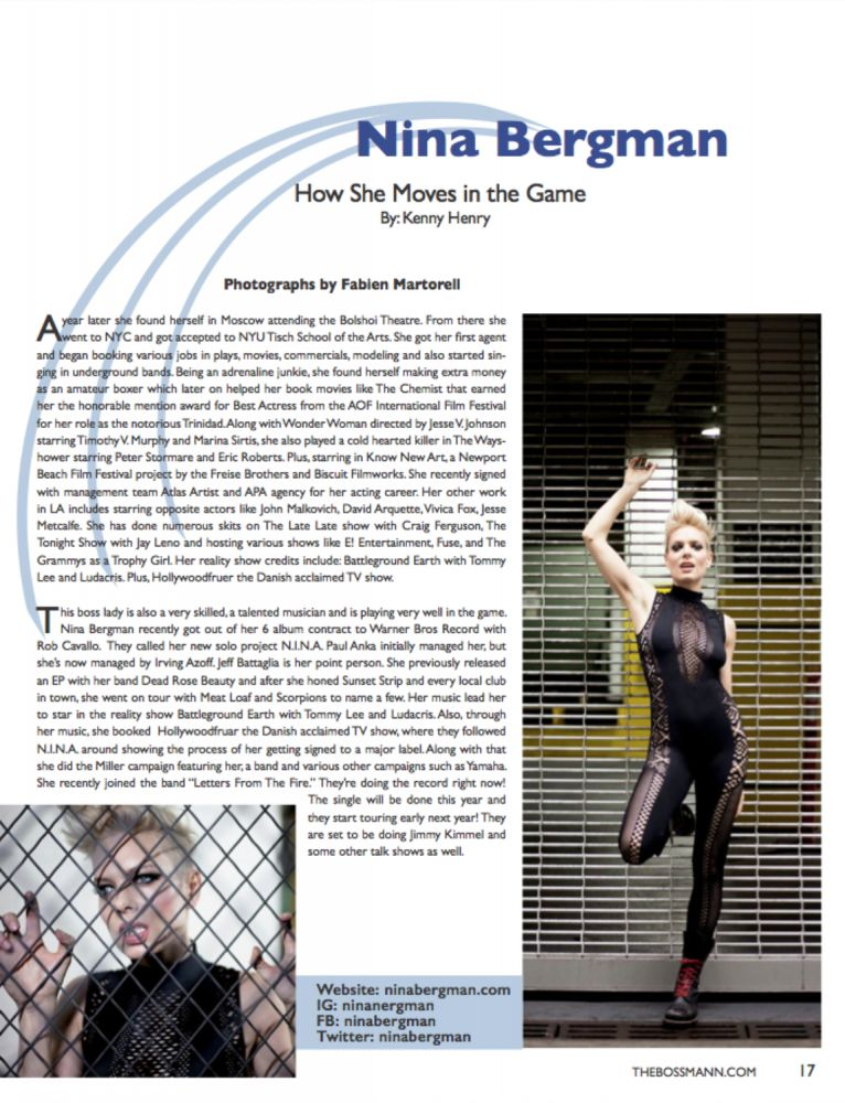 The Boss Mann Magazine (Los Angeles) | Nina Bergman, Nov. 2017