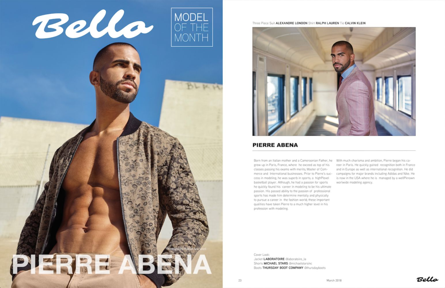 Bello Mag (Los Angeles) | Pierre Abena, March 2018