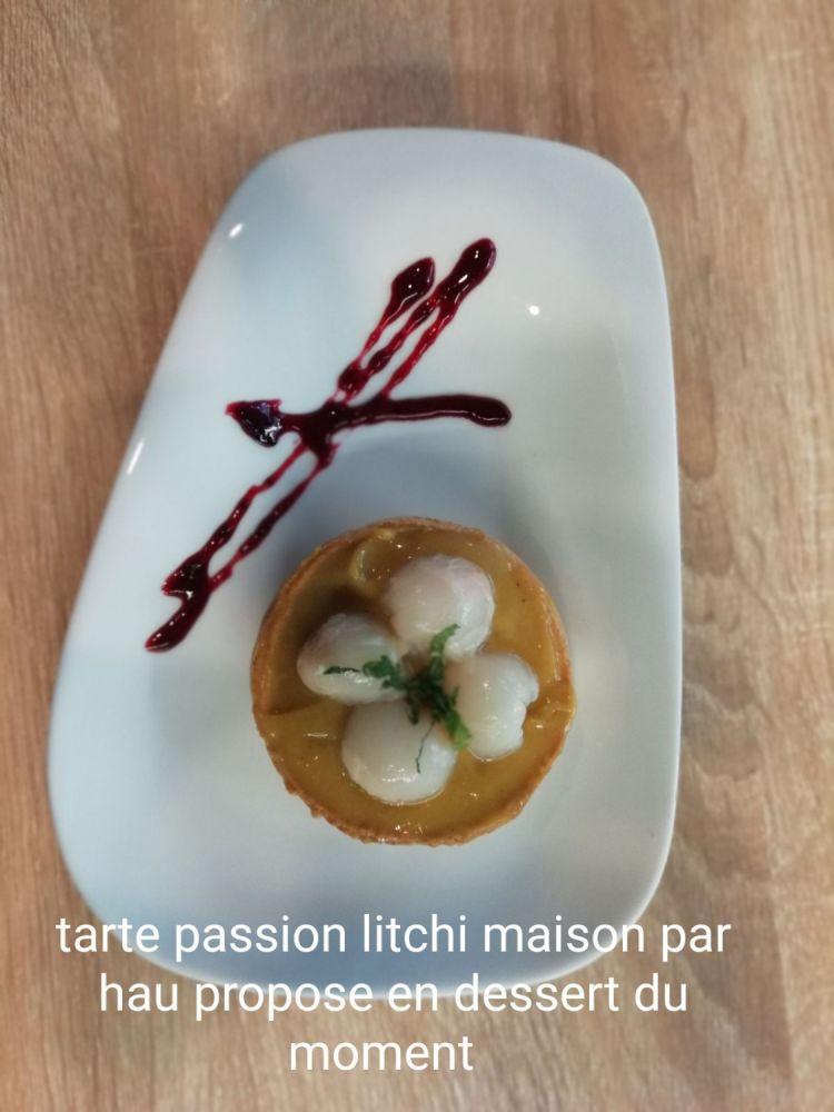 dessert maison : la tarte lichi/passion