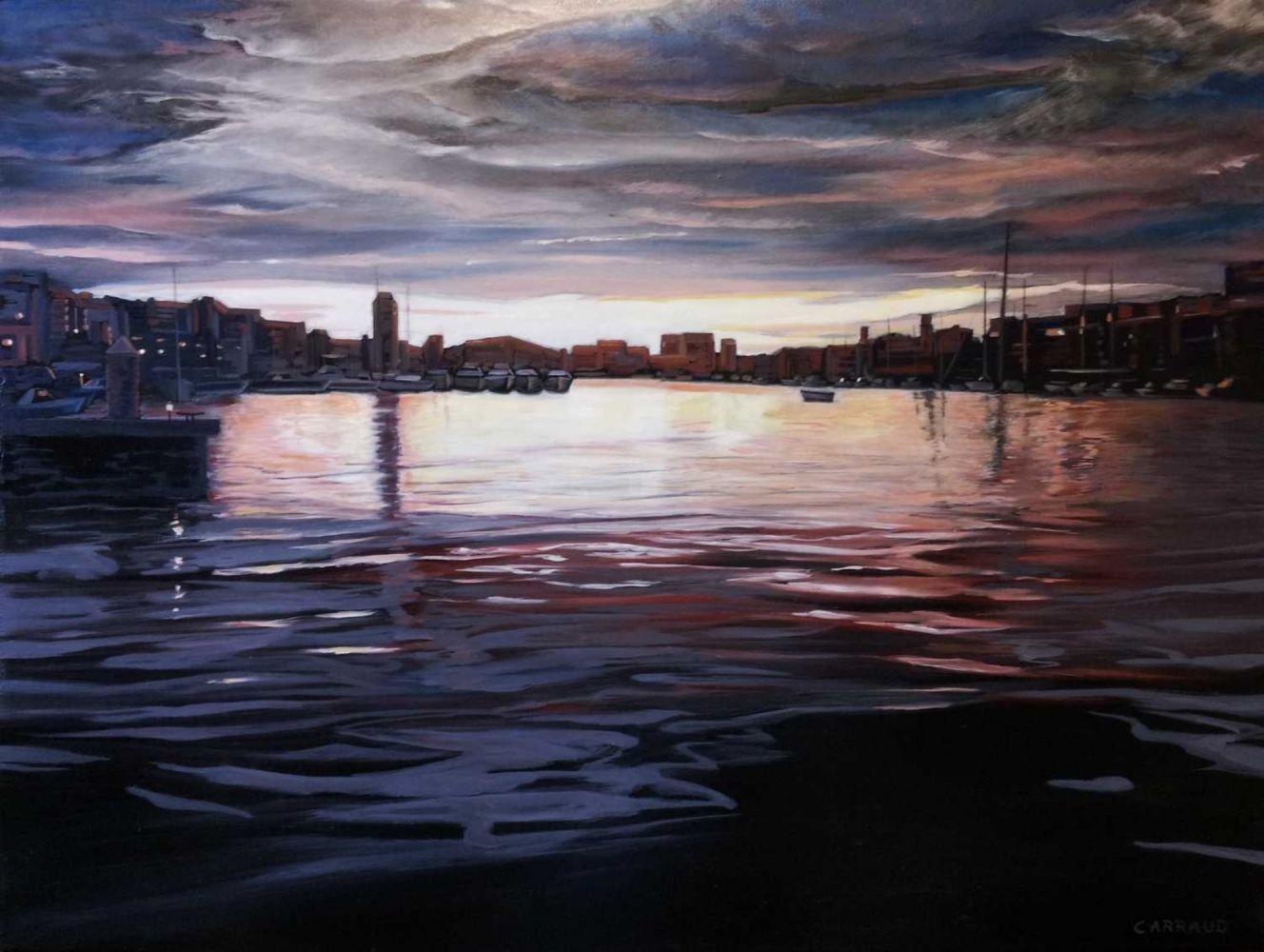"""""""CREPUSCULE"""" sur le vieux port de Marseille 80 x 60 cm"""