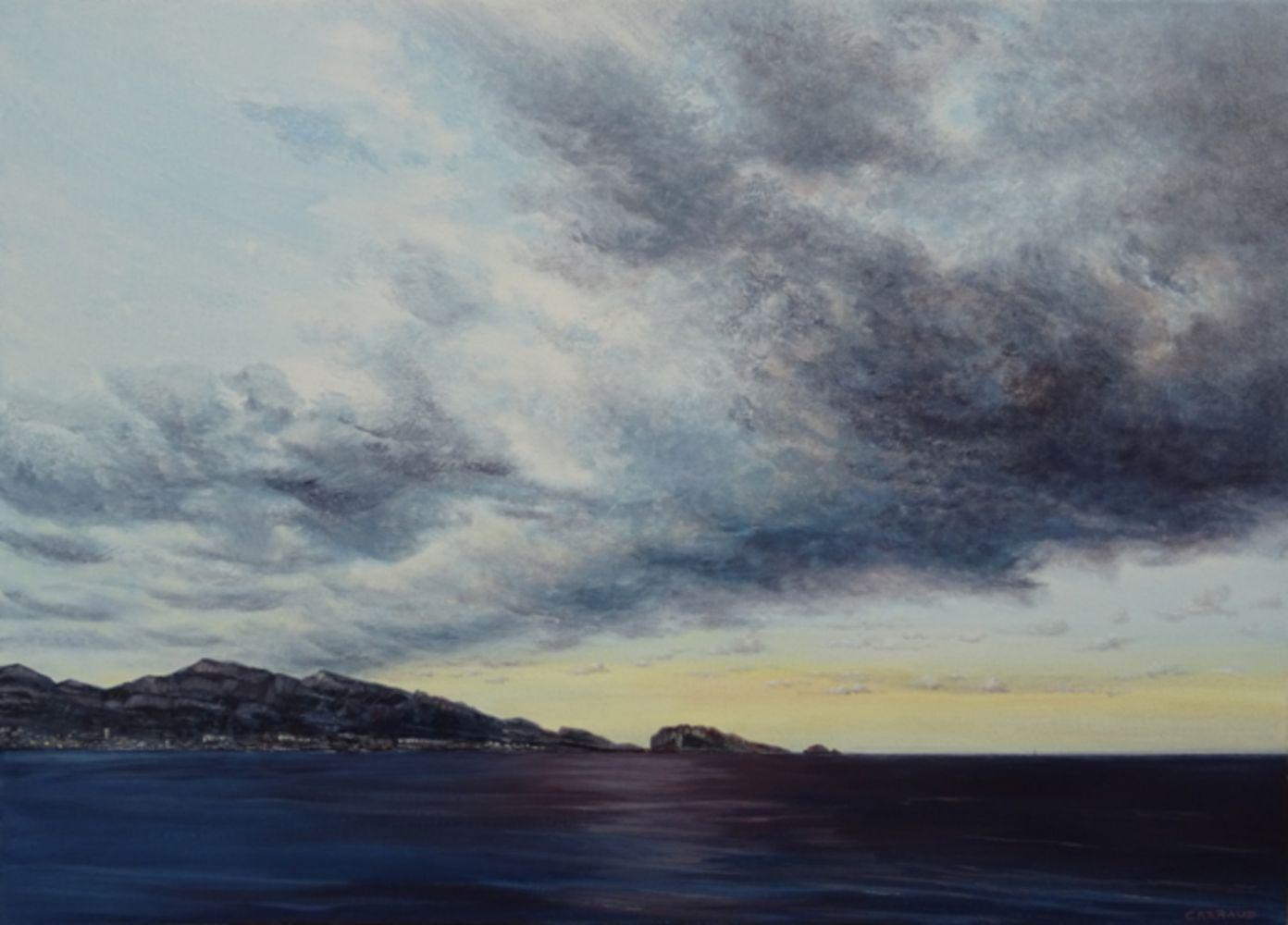 """""""NUEES"""" Marseille vue sur le massif de Marseilleveyre huile sur toile 70 x 50 cm Martine Carraud"""