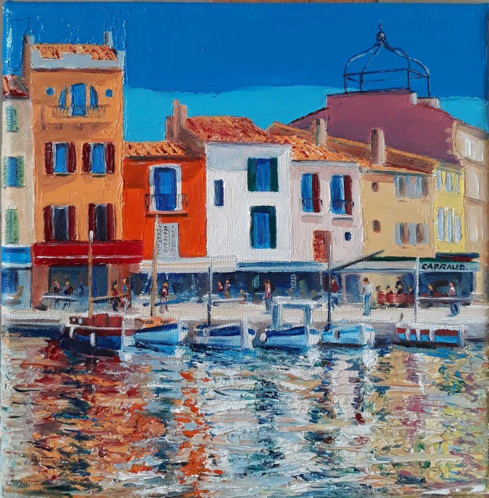 """""""Port de Cassis"""" peinture au couteau Martine Carraud"""