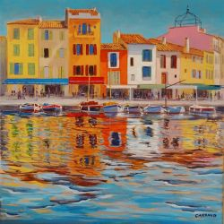 """""""Port de Cassis"""" huile sur toile 30 x 30 cm Martine Carraud"""