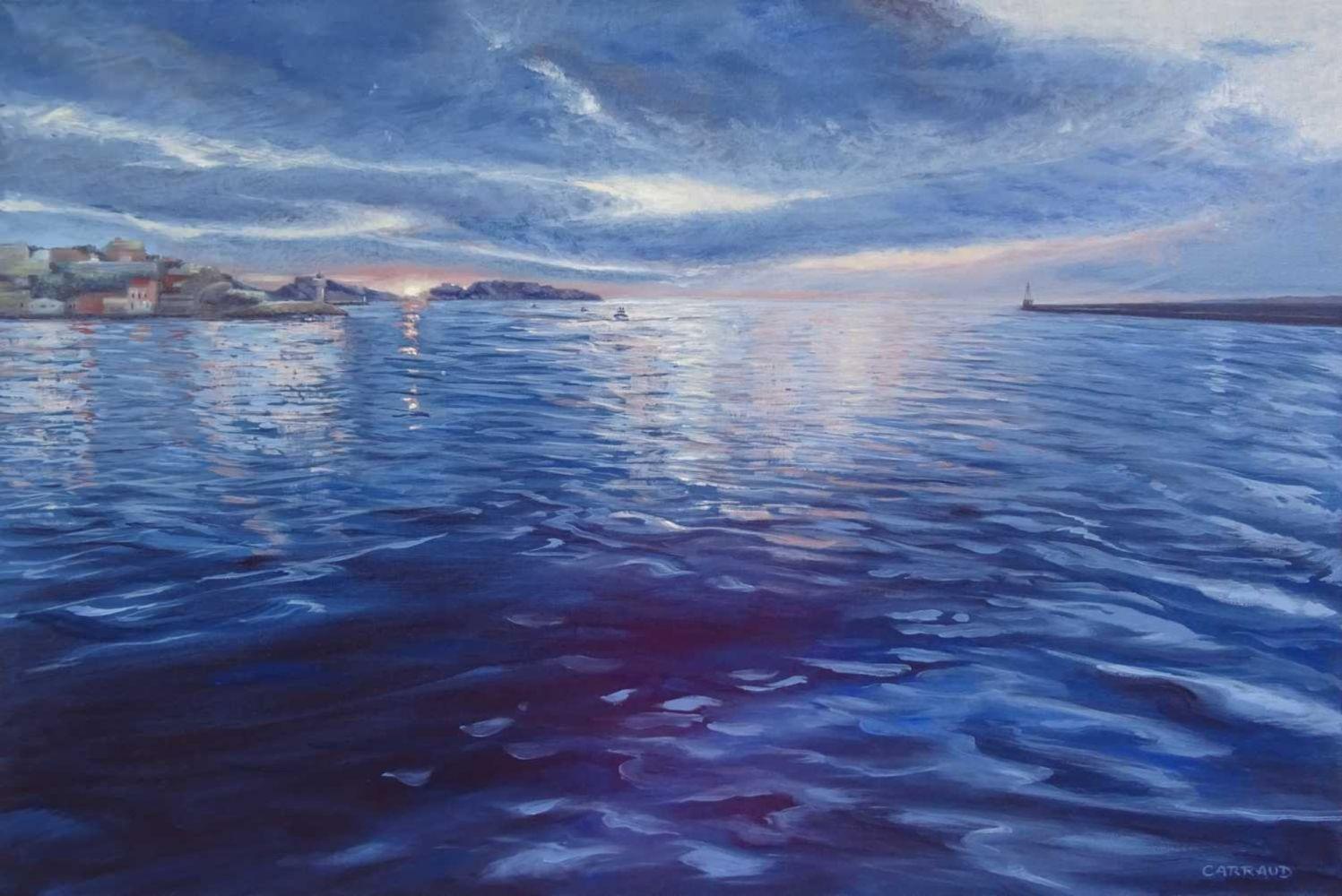 """""""EN ATTENTE"""" vue de l'esplanade de Mucem sur les îles de Frioul Marseille 80 x 60 cm"""
