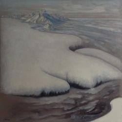 """HIVER"" huile sur toile 100 x 100 cm Martine Carraud"