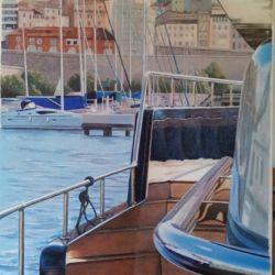 """""""SUR LE DEPART"""" port de Marseille huile sur toile 100 x 50 cm Martine Carraud"""