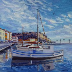 """PORT DE CASSIS"" 30 x 30 cm Martine Carraud"