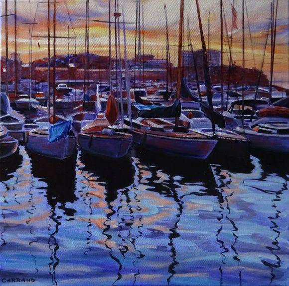 """""""SOIR D'ETE"""" port de Marseille 30 x 30 cm"""