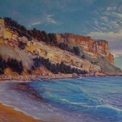 """""""CANAILLE"""" falaise de Cassis  huile sur toile 100 x 64 cm Martine Carraud"""