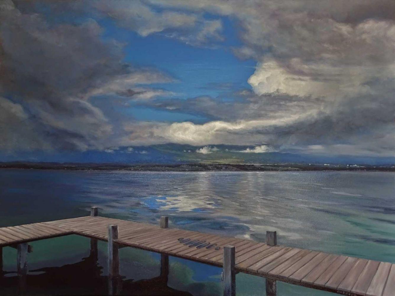 """""""ECLAIRCIE"""" sur le Lac Léman 80 x 60 cm"""