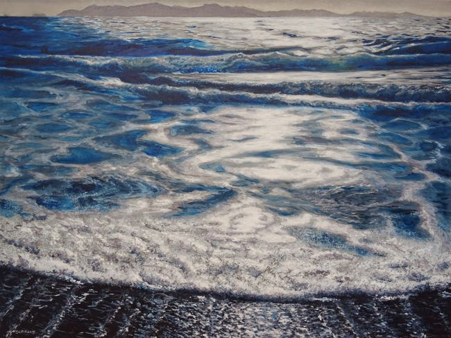 Peinture à l'huile de la plage du Cabasson