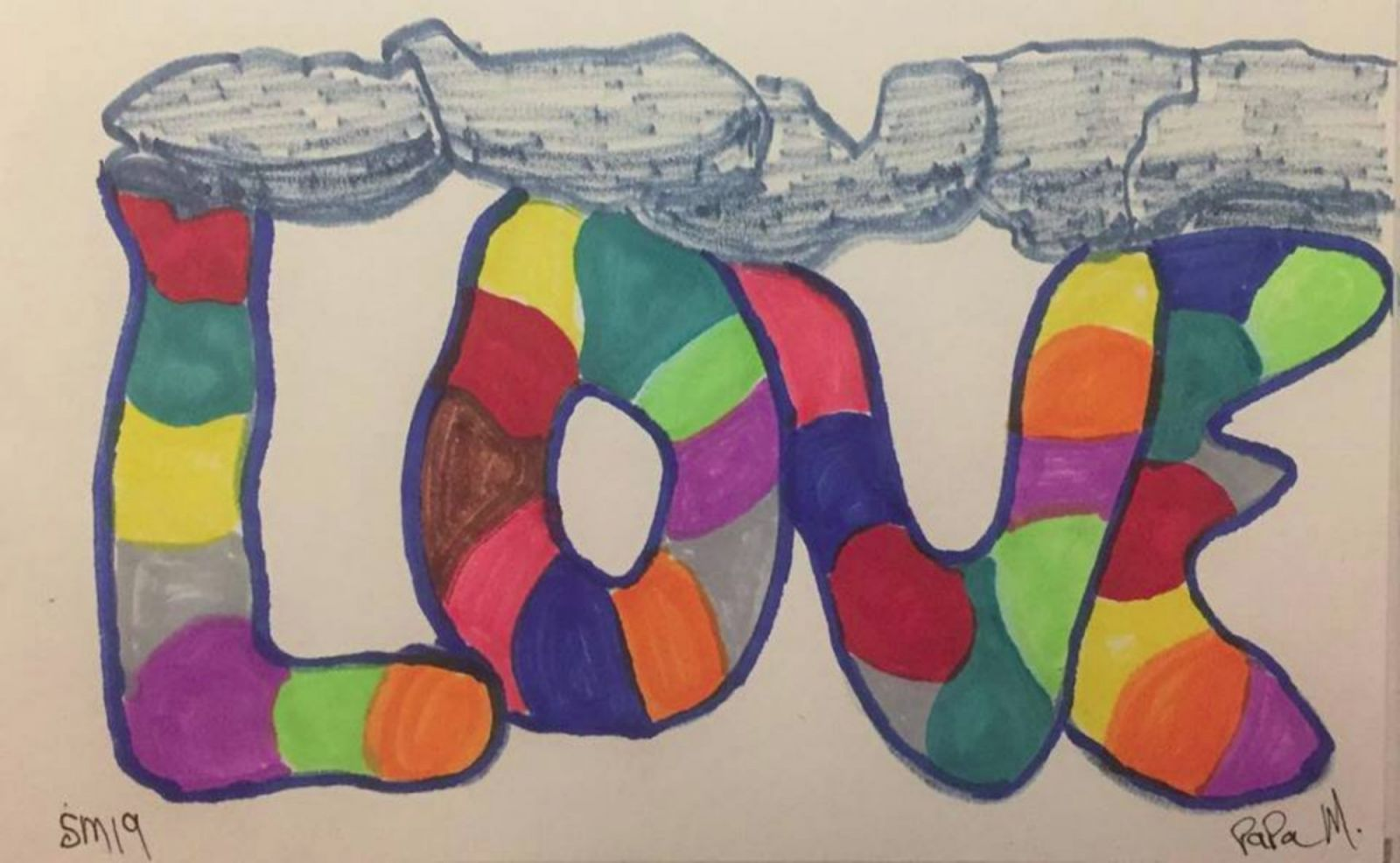 Love. 2019. Drawing. Markers on 5.5x8.5 inch paper. $25.00