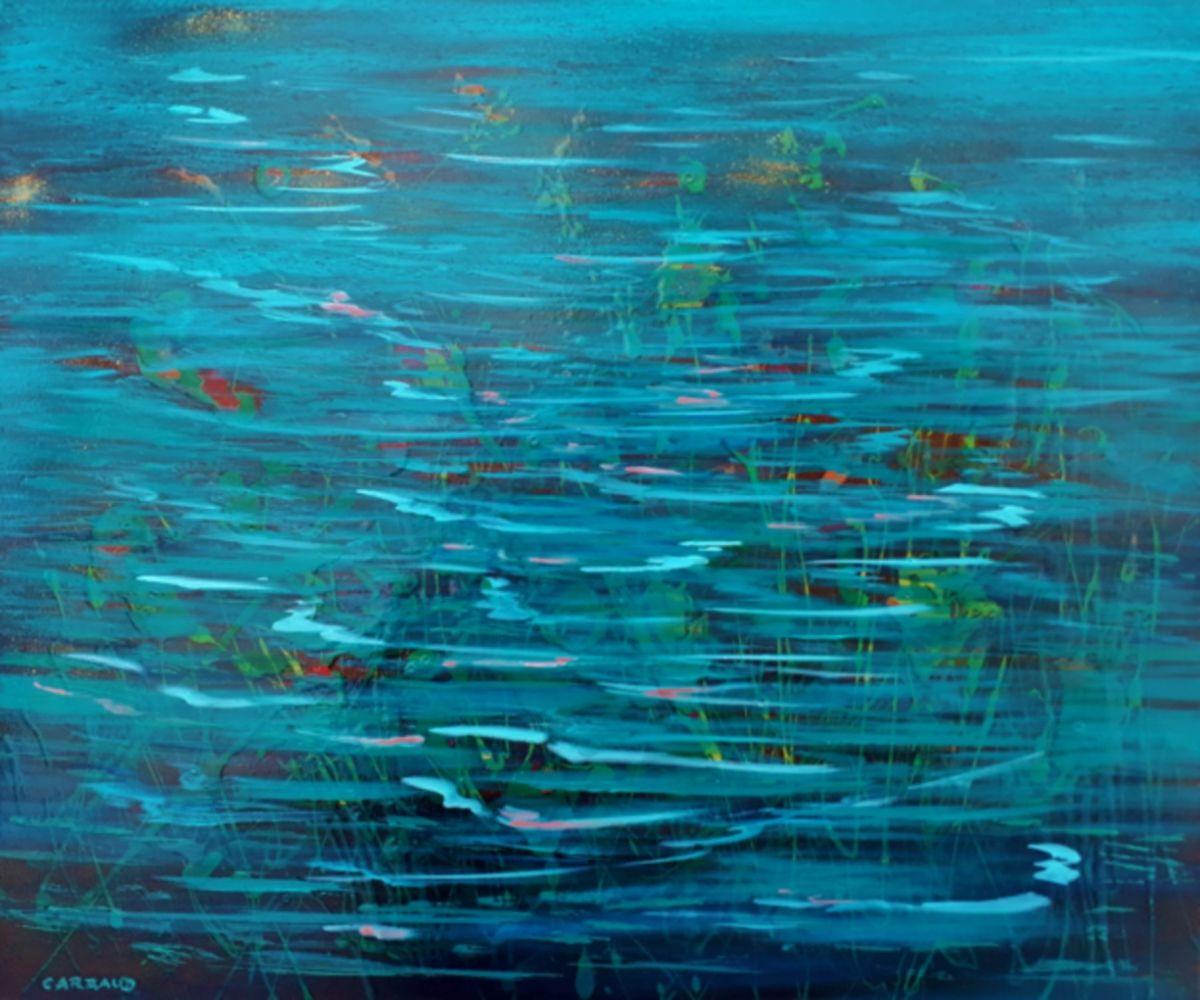 ONDINES huile sur toile 55 x 46 cm